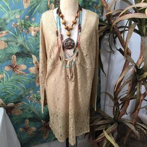 St John's Bay tan lace swimsuit cover-up/ tunic-XL